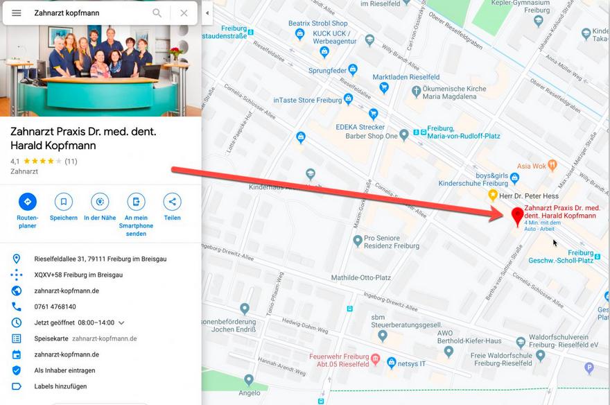 Optimierter Google My Business Eintrag - Branchenbuch